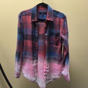 By Corpus ombré bleached flannel buttondown shirt